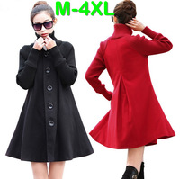 M-4XL New Spring Autumn European Style Lady Plus Size Long Sleeve Skirt Style Breasted Thickening Woolen Midi Long Trench Coats