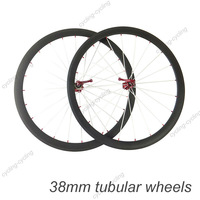 FREE SHIPPING 38mm tubular carbon bicycle wheels 700c Carbon fiber road bike Racing wheelset