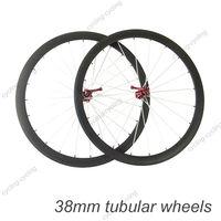 FREE SHIPPING 38mm tubular carbon bicycle wheels 700c Carbon fiber road bike Racing wheelset