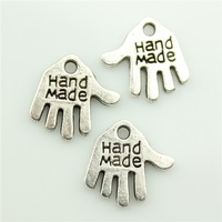 400pcs/lot 2 colors antique silver, antique bronze 13*13mm hand made charms, handmade charms