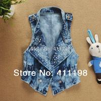 BLUE COLOR AVAILABLE 2014 women vest jeans windproof denim sleeveless jacket  WF1001 Sky blue,Dk blue 4colors Hot sale