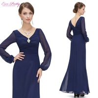 HE09887BL Free Shipping Dark Blue Double V Neck Diamante Long Sleeve Evening Dress