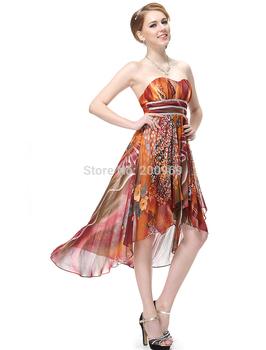 HE06091PK  Padded Floral Printed Empire Талия Ruffles Шифон Evening Dress