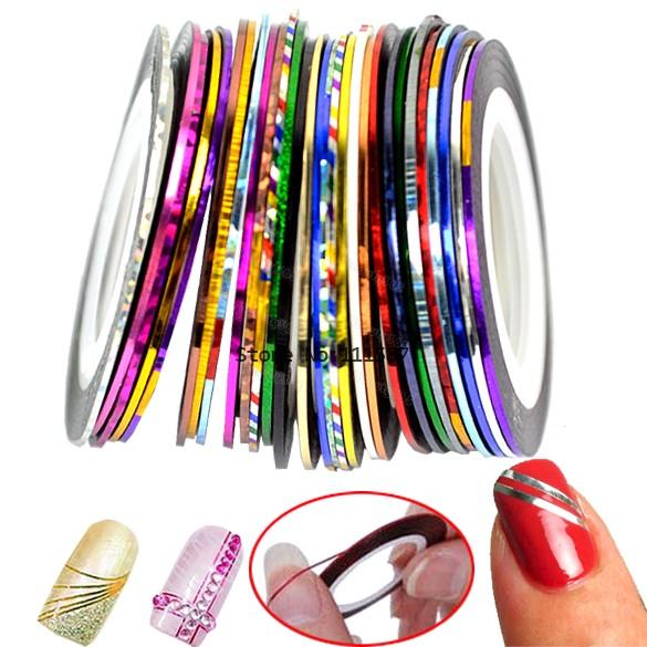 30 Mix Color Rolls Striping Tape Metallic Yarn Line Nail Art Decoration Sticker Free Shipping 4964(China (Mainland))