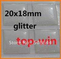 drop selling 110pcs per lot 3d glitter stickers DIY jewelry epoxy resin 20x18mm square free shipping