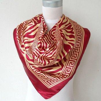 Fashion Classic Pattern Women Silk Scarf Printed 90*90cm Ladies Satin Big Square Polyester Scarf Red Stripe Silk Scarves Wraps