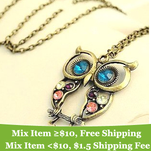 Fashion lovely vintage Colorful Cute OWL necklace !!--CRYSTAL SHOP(China (Mainland))