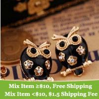 Fahion vintage Black Owl stud Earrings fashion earrings jewelry 2014 for women hot sale cRYSTAL sHOP
