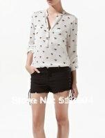 Blusas for women 2014 NEW Women's Casual Long Sleeve Tops Blouse Lady Dog Print Plus Size camisa de chiffon shirt