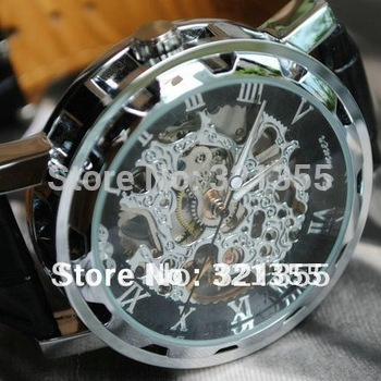 Free Shipping Relogio Masculino Mens Silver Skeleton Hand Wind Mechanical Watch Dress for men Watches Original Brand Winner