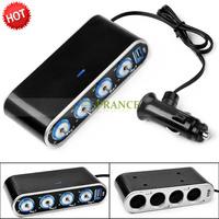 4 Ways Car Cigarette Lighter 12v Socket Splitter Adapter With 4 Charger Socket Plug + USB Port Free Shipping OT18