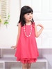 2013 fashion girls summer dress cute bow chiffon princess dress sleeveless lace dresses with necklace free shipping
