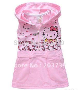 Best selling children sundress baby girl's hello kitty sleeveless dress C6813