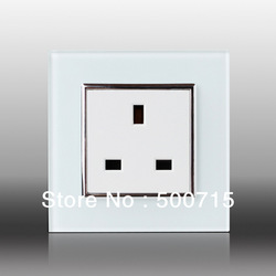 Free Shipping, Livolo UK Standard Wall Power Socket, White Crystal Glass Panel, AC110~250V, 13A Wall Outlet, VL-C7C1UK-11(China (Mainland))