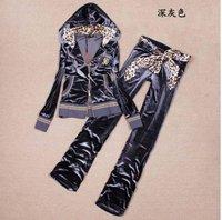 2014 Free Shipping Wholesale Fashion Gold velvet leopard hat leopard belt Slim Set sport suit for Women M L XL XXL