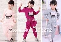 Girls Cartoon Clothing Set Baby Kids Lace Minnie Sports Suit Children Hoodie+Harem Pants 2pcs Garment Baby Clothes ,4 sets/lot