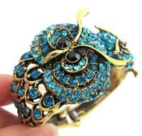Diameter 55mm*50mm Vintage Crystal Owl Alloy Bangle Antique Gold Plated Owl Cuff Bracelets AM032
