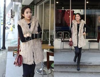 Womens Fur Vest Plus Size Faux Fur Vest V-neck Sleeveless Fur Coat for Woman Winter Long Vest Design Waistcoat B26 7668