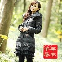 Free Shipping New women's down coat long jacket warm down jacket lace down dress