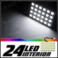 Free shipping 30pcs White 24 led Panel 5050 led lamp  DC 12V T10 Festoon Ba9s 5050 car Interior Dome lights lamp