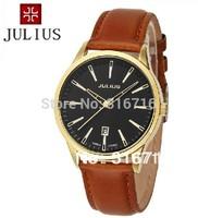 100% Authentic Hot Selling Famous Brand Watches,Korea JULIUS Quartz Men's Wristwatches,Calendar Quartz Leather Strap Watches 372