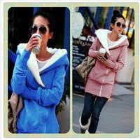 2013 Korea Women Hoodies Coat Warm Zip Up Outerwear Sweatshirts 2 Colors Black Gray free shipping