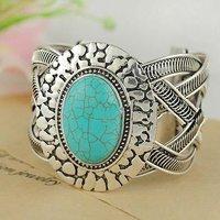 Free shipping Fashion Retro Tibetan Silver Turquoise Bracelets Bangles Cuff Jewelry Bracelets B004