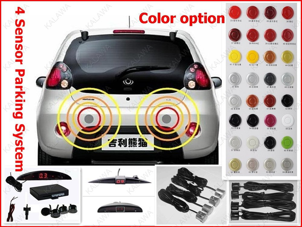 4 Sensors System 12V LED Display Indicator Car Parking Sensor System Car Reverse Radar Kit (Many Color Option) Freeshipping(China (Mainland))