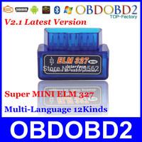 Latest Version V2.1 Super MINI ELM327 Bluetooth OBD/OBD2 Wireless ELM 327 Multi-Language 12Kinds Works ON Android Torque/PC