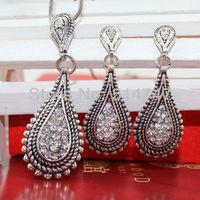 Vintage Style Water Drop Jewelry Set Water Drop Necklace/Earrings JS019 Free shipping