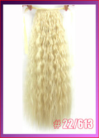 "22""(55cm) 90g kinky curly ribbon ponytail hairpiece hair pieces clip in hair extensions color #22/613 Mixed Colors"