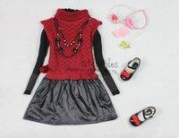 new 2013 baby girls  autumn-summer clothing sets children sweater vest t shirt clothes set kids winter wear