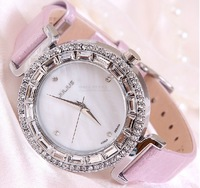Watch Women Fashion Brand Korea JULIUS Luxury Quartz Wristwatches Rhinestone Oysters Shell Dial Leather  Bracelet Dress Watches