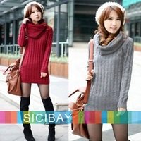 Winter New Hot Bottoming Lady Warm Sweater Solid O-Neck Long Sleeve Knitwear Long Pullover with Scarf  W0154