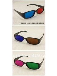 Free Shipping (3Pcs/Lot) Anaglyphic 3D Glasses With Red-Blue/Red-Green/Blue-Brown Lens Passive Plastic 3D Glasses(China (Mainland))