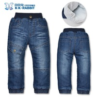 High quality KK-RABBIT thick winter warm cashmere kids pants boys girls baby jeans children jeans