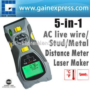 Portable Multifunction 5in1 Digital Distance Meter Stud/Joists Metal Wire Detector Laser Marker Tool 0.6~16m (2 ~ 53 inch) Range