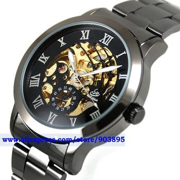 EBAY best sale Titanium Black Automatic Skeleton Mechanical Steel Band Mens men military  Watch Freeship