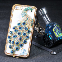 2014 new Luxury 3D Peacock bling diamond rhinestone cover For case Apple iPhone 5 5s new arrival novelty free shipping 1 piece