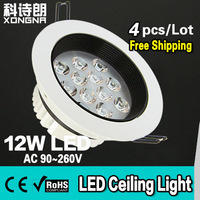 Free Shipping 4pcs/Lot Super Bright 12W LED Ceiling Light with Epistar Chip