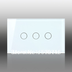 US/AU, Ivory White Crystal Glass Panel, Digital Touch Screen, Dimmer and Remote Control Home Wall Light Switch VL-C303DR-81(China (Mainland))