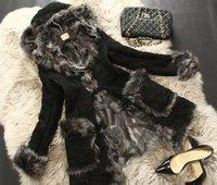 2014 Fashion long precious wool fur coat for woman imported Italian Tuscan sheep fur lady warm winter outwear real mouton GFW071