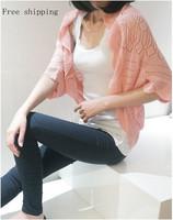cutout chiffon crochet batwing sleeve waistcoat cardigan loose sweater female thin cardigan for women free shipping