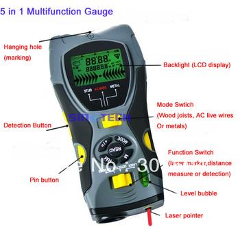 Free shipping Multifunction Gauge 5 in 1 digital Distance Meter Stud Metal Wire Detector Laser Marker Tool 0.6~16m SK-109A