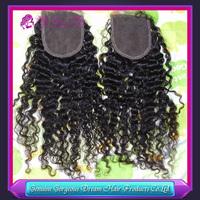 Cheap 4*4 inch Grade AAAAA Virgin Malaysian Human Hair Curly Natural Color Lace Closure Bleached Knots Free Shipping