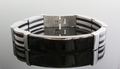 Fine Quality Men&#39;s Stainless Steel Bracelet 3 Row Black Rubber Bracelet with logo Free Shipping