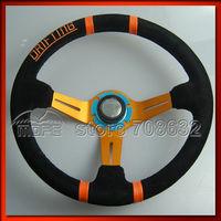 Original Logo Suede Leather 350mm 90mm Deep Dish Drifting Steering Wheel for Racing Car