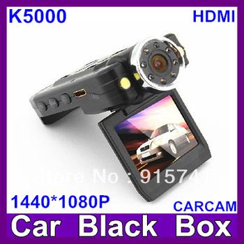 2013 Newest HD Car DVR Camera K5000 with 8LED Night Vision Car Black Box   HD1080P Free Shipping