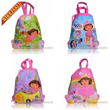 12Pcs Dora Children Cartoon Drawstring Backpack Kids School Bags handbags Non-woven Material ,Party Gift