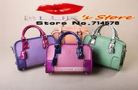 FREE SHIPPING rose women leather handbag fashion pink leather shoulder bag beautiful women messenger bag famous brand designer
